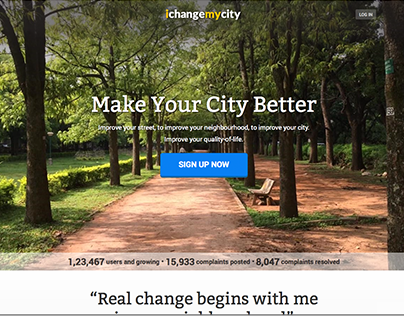 Landing Page - I Change My City