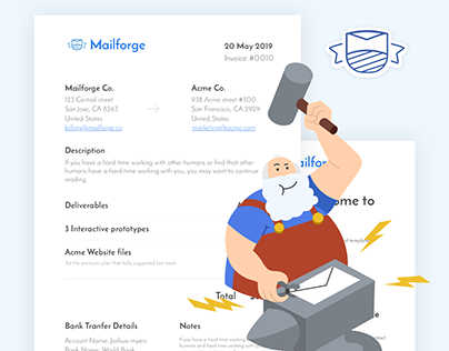 mailforge.co website - email templates for entrepeneurs