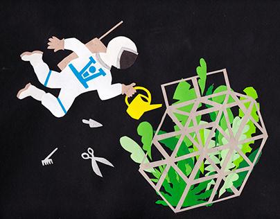 Gardening in space. Papercut illustration.