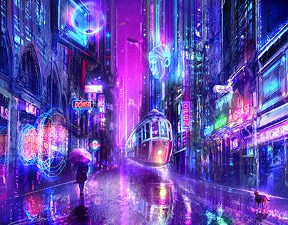 İstiklal Street - Cyberpunk Concept Art