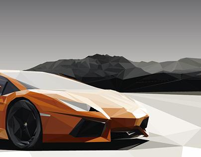 Lamborghini Poligonal Ilustracion Low Poly