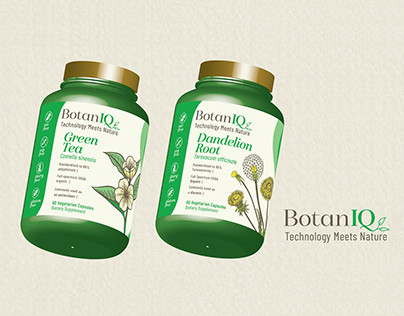 Botaniq - 3d Package Mockup - Green Tea and Dandelion