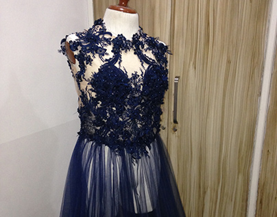 Navy Blue Gown embroidered with 3D flower applique
