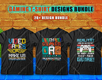20+ Gaming T-shirt Design Bundle Packages