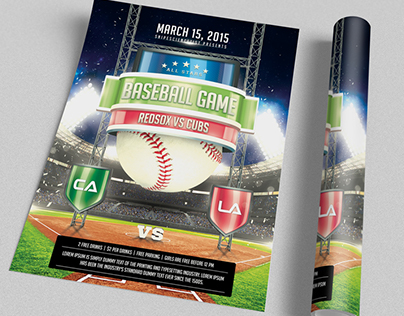 Baseball Game Flyer Template Psd On Behance
