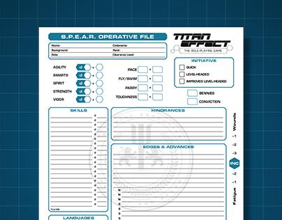 Titan Effect RPG: Character Folio