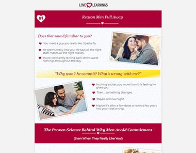 Matching love landing page design