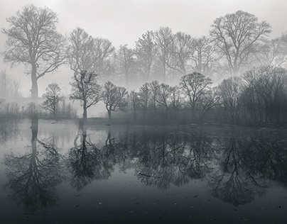 Misty Pond - In Camera Double Exposure