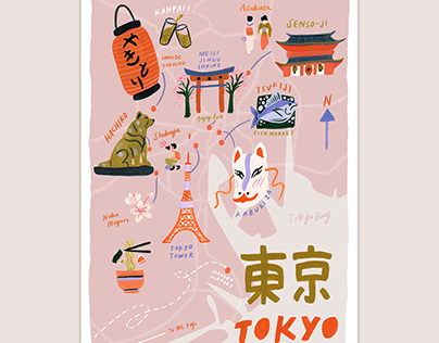 Tokyo Illustrated Map in Pink