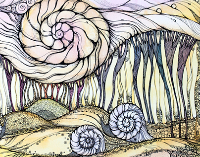 Snails.Hand draw ink and pen,Watercolor, textured paper