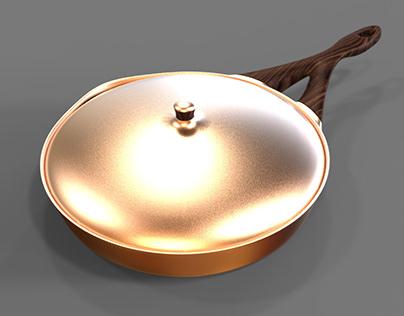 Wood & Copper Frying Pan