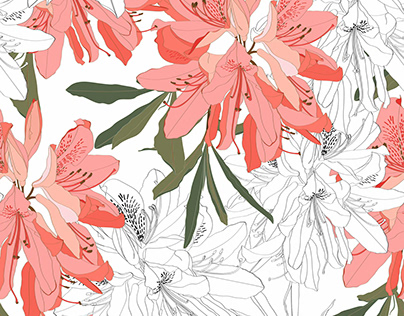 Seamless pattern with Oleander flower.