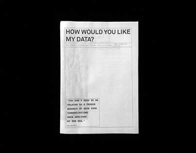 How would you like my data? — Booklet