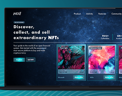 NFT home and login page - Next - XD CC