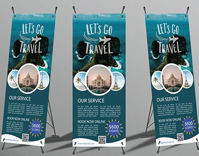Roll up banner design for travel agency.
