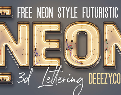 Free Neon 3D Lettering