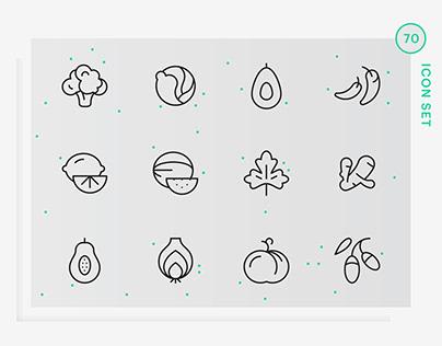 Veggie, fruit & spices Icons