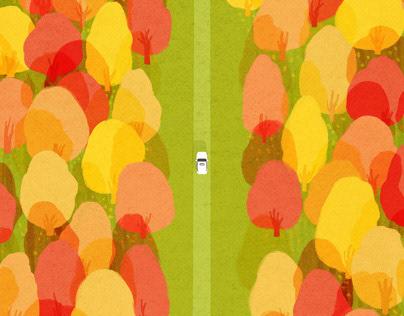 Autumn in Québec 原创插画 I 魁北克枫叶季