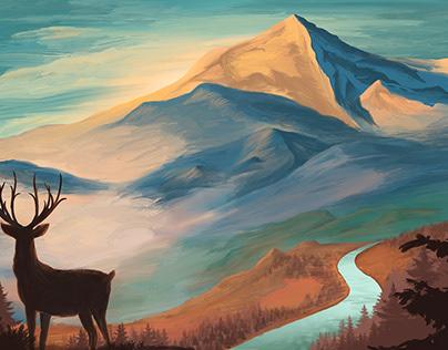 Digital Painting - Mountainous Washington