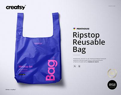 Ripstop Reusable Bag Mockup Set Ripstop Reusable Bag M