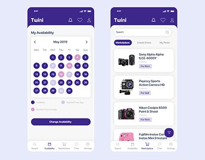 Calendar & Marketplace Screen Design Light Version