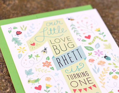 Love Bug 1st Birthday Invitation