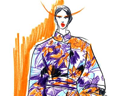Fashion illustrations in coloured pencils