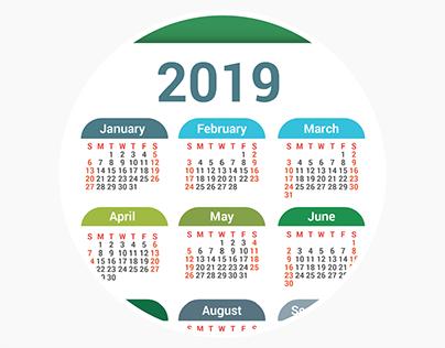 Pocket calendars for 2019