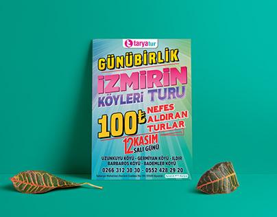 Taryatur İzmirin Köyleri Afiş Tasarım