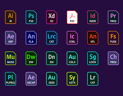 Adobe file icons in vector