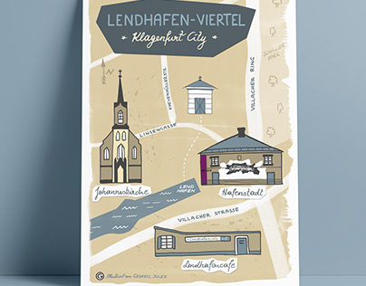 Illustrated MAP of Lendhafen-Viertel Klagenfurt