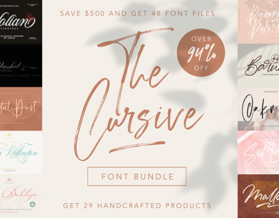THE CURSIVE FONT BUNDLE - SAVE 94%