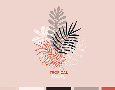Tropical Leaf Illustrations - 60 graphics and patterns
