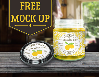 Free Glass Jar and Cap Mock Up
