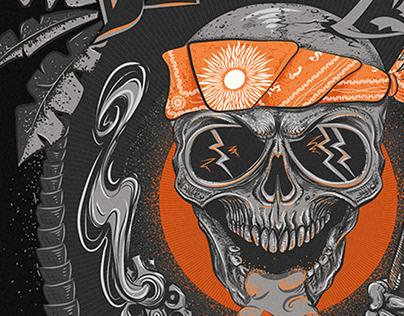 """T-Shirt design tattoo""""Beach or Die"""". Cover"""