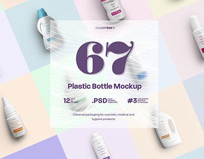 67 Mockups of Plastic Bottle/12 Different Sets/3 Free/