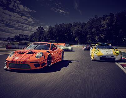 Porsche GT Racecars on Hungaroring