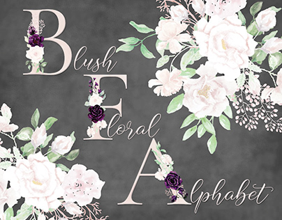 Watercolor floral alphabet in blush and pink