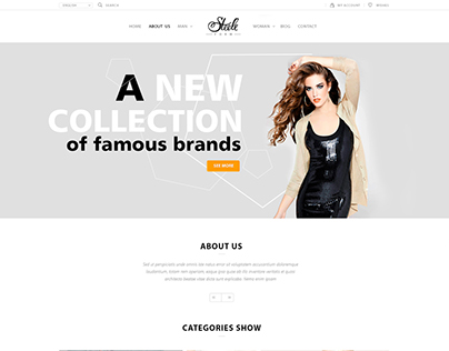 Design of a universal clothing store website template