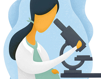 Editorial illustration – pregnant scientists in the lab