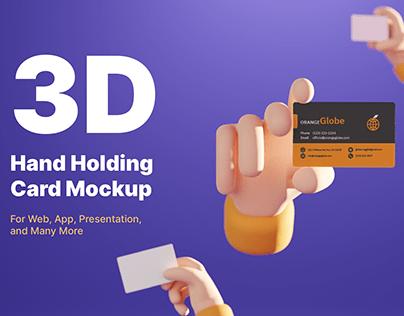 3D Hand Holding Card Mockup