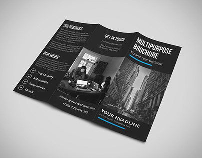 Black Tri Fold Corporate Brochure TEMPLATE