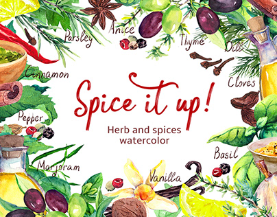 Herbs and spices. Watercolor
