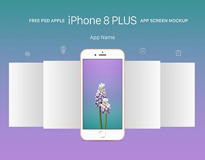 Free Apple iPhone 8 Plus App Screen Mockup PSD