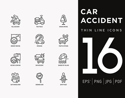 Car Accident | 16 Thin Line Icons Set