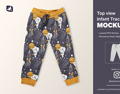 Top View Infant Track Pants Mockup