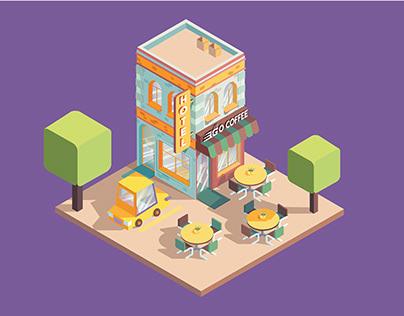 Go Coffee Shop and Hotel Vectored Isometric Scene
