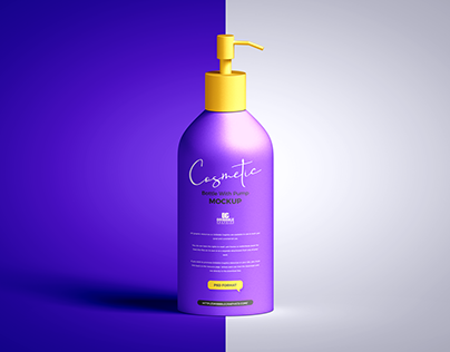 Free Cosmetic Bottle with Pump Mockup