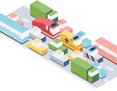 Isometric traffic rules illustrations