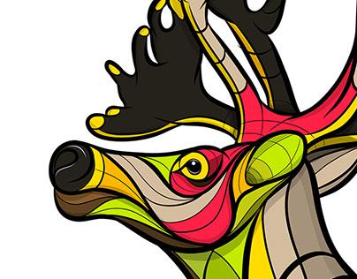 Neon Reindeer Illustration